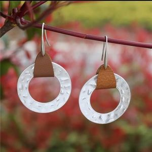 Hammered Silver and Leather Earrings - New